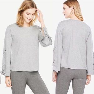 Ann Taylor Gray Ponte Lace Up Bell Sleeve Blouse